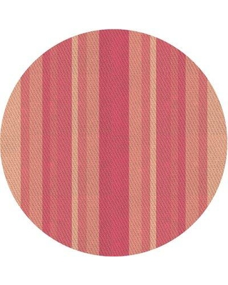 East Urban Home Striped Wool Pink Area Rug X113530959 Rug Size: Round 5'