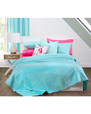 Crayola Stitched Robin's Egg Blue 3-piece Quilted Coverlet Set (Queen/Full - Queen/Full - 3 Piece)