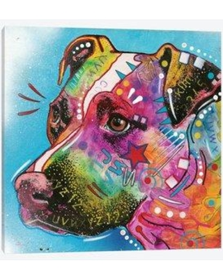 "East Urban Home 'Pit Bull II' Graphic Art Print on Canvas ERBH3081 Size: 12"" H x 12"" W x 1.5"" D"