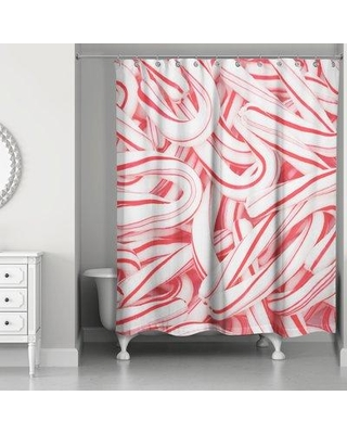 The Holiday Aisle Reta Candy Canes Single Shower Curtain W000961908
