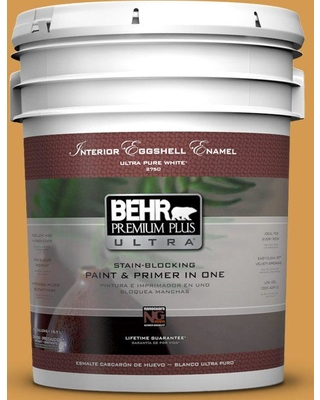 BEHR ULTRA 5 gal. #PPU6-02 Saffron Strands Eggshell Enamel Interior Paint and Primer in One