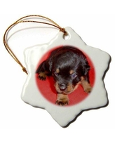 New Deal On The Holiday Aisle Cute Rottweiler Puppy Vector Snowflake Holiday Shaped Ornament Ceramic Porcelain In Black Size 3 H X 3 W Wayfair