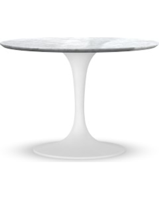 Hot Sale Tulip Pedestal 42 Round Dining Table White Base Carrara