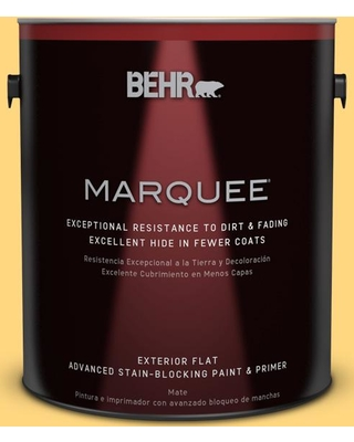 BEHR MARQUEE 1 gal. #320B-5 Zinnia Gold Flat Exterior Paint and Primer in One