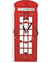 Red London Telephone Booth HANDCRAFTED wooden wall clock (Red telephone box) large london uk home decor