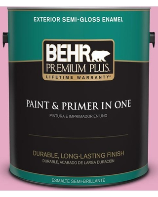 BEHR Premium Plus 1 gal. #P130-3 Little Princess Semi-Gloss Enamel Exterior Paint and Primer in One