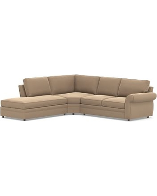 Pearce Roll Arm Upholstered Right 3-Piece Bumper Wedge Sectional, Down Blend Wrapped Cushions, Performance Plush Velvet Camel