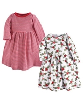 Hudson Baby® Size 4T 2-Pack Holly and Stripes Long Sleeve Dresses in Red