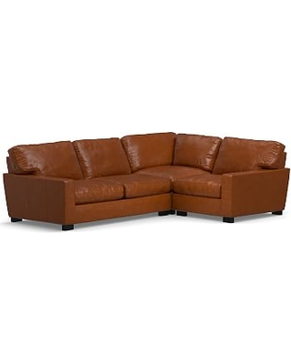 Turner Square Arm Leather Left Arm 3-Piece Corner Sectional, Down Blend Wrapped Cushions, Legacy Dark Caramel