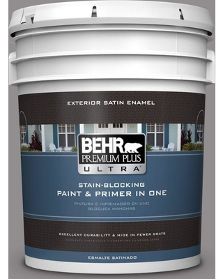 BEHR ULTRA 5 gal. #PPU16-14 Plum Smoke Satin Enamel Exterior Paint and Primer in One