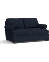 "Townsend Upholstered Loveseat 79"", Polyester Wrapped Cushions, Twill Cadet Navy"