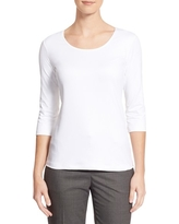 Women's Boss Scoop Neck Stretch Jersey Top, Size X-Small - White
