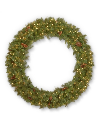 """60"""" Garwood Spruce Wreath with Warm White LED Lights (Artificial Wreath)"""