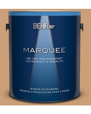 BEHR MARQUEE 1 gal. #ICC-62 Pumpkin Butter Satin Enamel Interior Paint and Primer in One