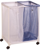 Honey-Can-Do 2-Bag Mesh Laundry Sorter Hamper, blue/white