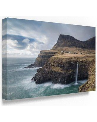 """Trademark Fine Art 'Gasadalur Waterfall' Photographic Print on Wrapped Canvas, Canvas & Fabric in Brown, Size 12"""" H x 19"""" W   Wayfair"""