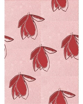 Floral Wool Red/Pink Area Rug East Urban Home Rug Size: Rectangle 2' x 3'