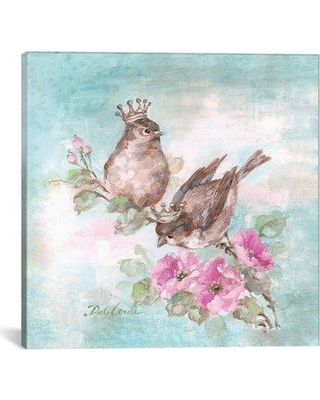 """Ophelia & Co. 'French Crown Songbirds I' Painting Print on Wrapped Canvas OPCO2838 Size: 26"""" H x 26"""" W x 1.5"""" D"""
