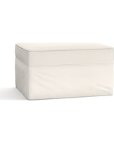 Pearce Slipcovered Ottoman, Polyester Wrapped Cushions, Denim Warm White