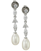 Honora 7-7.5 mm Freshwater Cultured Pearl Drop Earrings with Swarovski Zirconia in Sterling Silver (White - White)