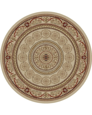 Concord Global Trading Jewel Aubusson Ivory 5 ft. Round Area Rug