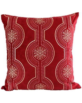 The Holiday Aisle Elem Embroidery Velvet Throw Pillow BF027289 Color: Red