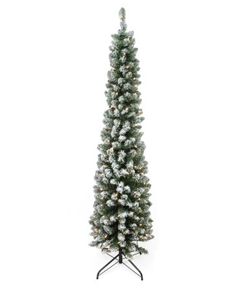 """6' x 20"""" Pre-Lit Flocked Traditional Green Pine Pencil Artificial Christmas Tree - Clear Lights"""