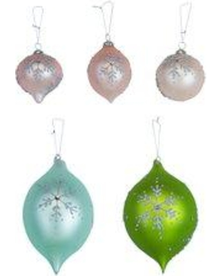 Can T Miss Bargains On The Holiday Aisle 5 Piece Pastel Snowflake Dream Ornament Set Plastic In Green Pink Size 4 H X 3 W X 3 D Wayfair