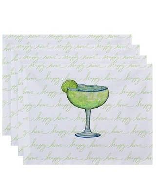 Simply Daisy, 18 x 14 Inch Margarita Text Fade Happy Hour Geometric Print Placemat (set of 4), Light Green