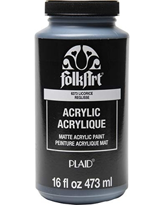 FolkArt Matte Acrylic Paint in Assorted Colors, 16 oz, Licorice 16 Fl Oz