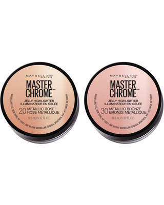 (2 Count) Maybelline Master Chrome Jelly Highlighter Face Makeup, Metallic Bronze + Metallic Rose
