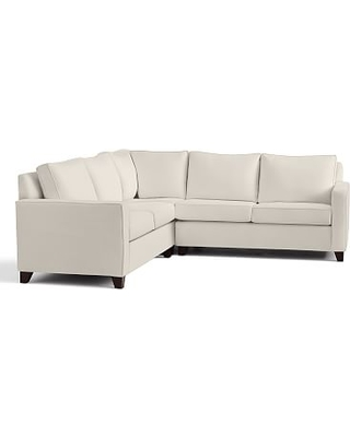 Cameron Square Upholstered 3 Piece L-Shaped Corner Sectional, Polyester Wrapped Cushions, Performance Twill Cream