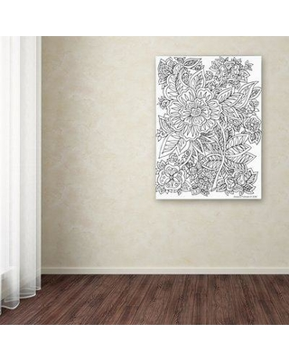 """Trademark Art 'Floral 35' Drawing Print on Wrapped Canvas ALI12924-C Size: 24"""" H x 18"""" W"""