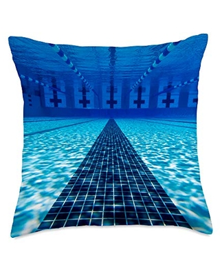 TAYEGU Swimming Pools Swimmers Waters Swimming Pool Blue Water Swimmer Gift Throw Pillow, 18x18, Multicolor