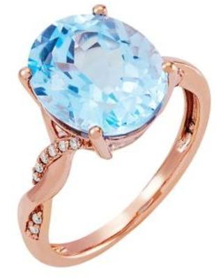 Belk & Co. Rose Gold 5.8 ct. t.w. Sky Blue Topaz and 1/10 ct. t.w. Diamond Ring in 10K Rose Gold