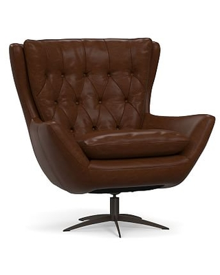 Wells Leather Swivel Armchair with Bronze Base, Polyester Wrapped Cushions, Legacy Chocolate