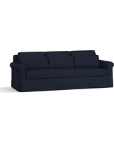 """York Roll Arm Slipcovered Deep Seat Grand Sofa 98"""" with Bench Cushion, Down Blend Wrapped Cushions, Twill Cadet Navy"""