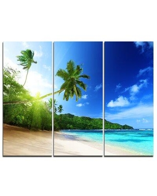 Design Art Sunset Beach with Palm - 3 Piece Photographic Art on Wrapped Canvas Set PT6847-3P