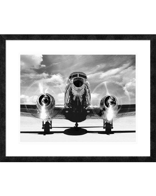 "East Urban Home 'Airplaine Taking Off' Oil Painting Print URBR6437 Size: 26"" H x 32"" W Matte Color: Bright White Format: Ebony Framed"