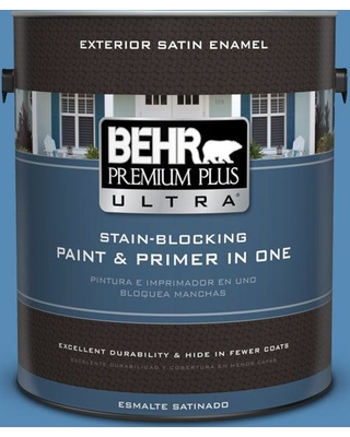 BEHR Premium Plus Ultra 1 gal. #M520-5 Alpha Blue Satin Enamel Exterior Paint and Primer in One