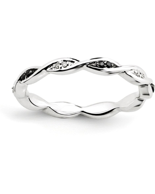 Sterling Silver Stackable Black and White Diamond Ring (10)