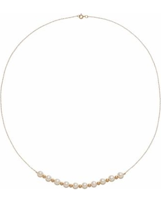 """14k Gold Freshwater Cultured Pearl Beaded Necklace, Women's, Size: 18"", White"""