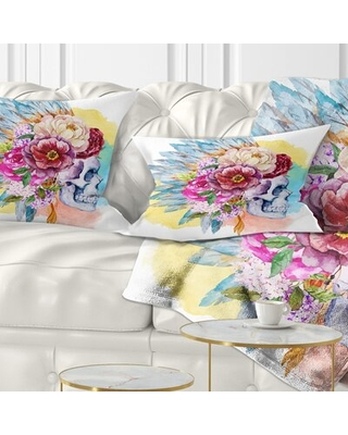 Floral Skull and Flowers Lumbar Pillow East Urban Home