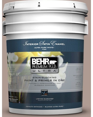 BEHR Premium Plus Ultra 5 gal. #N170-4 Coffee with Cream Satin Enamel Interior Paint and Primer in One