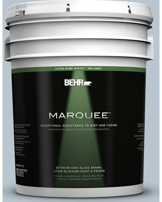 BEHR MARQUEE 5 gal. #560E-3 Silver Strand Semi-Gloss Enamel Exterior Paint and Primer in One