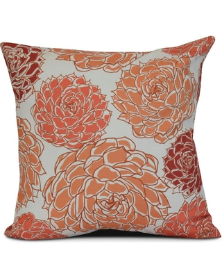 E by Design 16 in. Olivia Floral Print Pillow in Coral (Pink)
