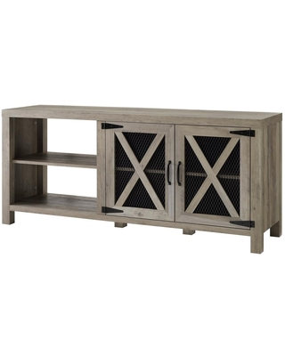 Walker Edison Furniture Company 58 in. Gray Wash Composite TV Stand 64 in. with Doors, Grey Wash