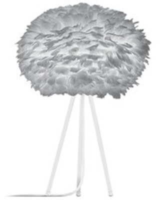 "Homan 26"" Modern Feather Globe Table Lamp Mercer41 Base Color: White, Shade Color: Gray"