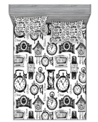 Hand Drawn Clocks and Watches Illustration Monochrome Sheet Set East Urban Home