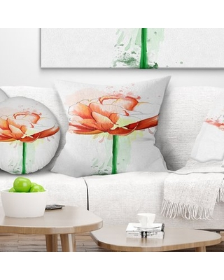 """Floral Rose with Stem and Paint Splashes Pillow East Urban Home Size: 18"""" x 18"""", Product Type: Throw Pillow"""